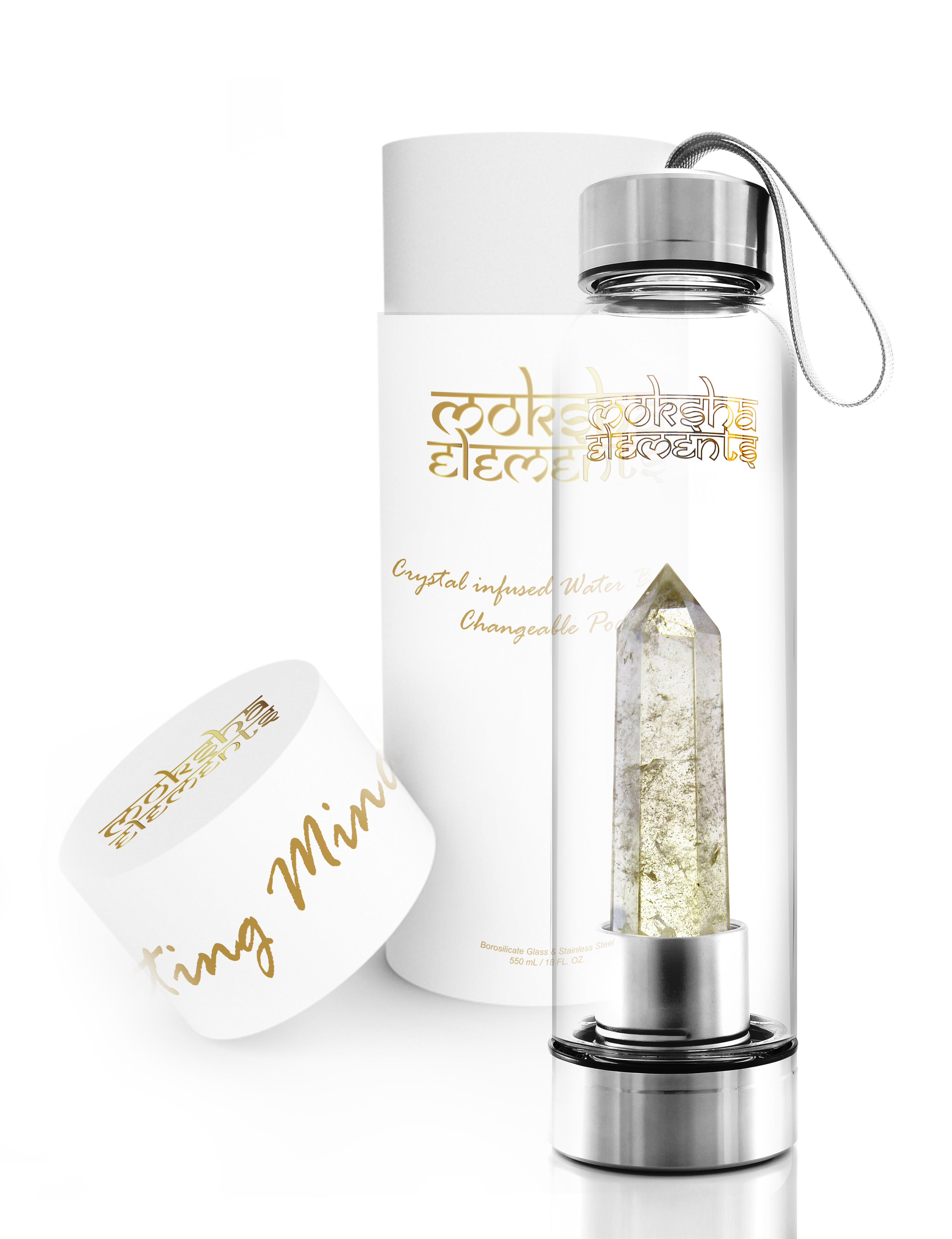 Citrine Quartz Crystal Infused Water Bottle