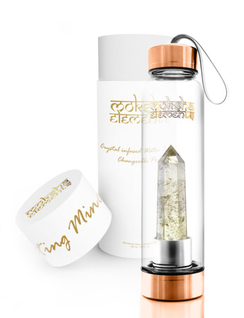 Citrine Quartz Crystal Infused Water Bottle (Rose Gold)